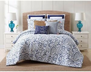Comforter and Duvet Set Indienne Paisley Pattern Cotton Fabric Twin XL, Blue