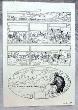 Hergé Tintin au Tibet Copie de Bleu d'imprimerie Planche 63 Format A4 Superbe !