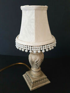 """Beige Fabric Accent Lamp Night Light Beaded Shade Small 12"""" Dangling Crackle"""