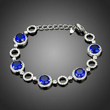 New Sparkly Shiny Blue Round Zircon Tennis Bracelet Bangle Women Gift Jewellery