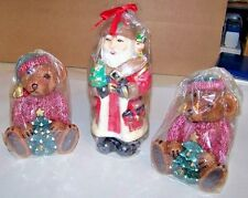 Santa Candle and Christmas Bears in  Sweaters Candle Set  3pc