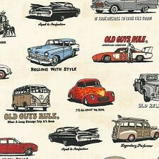 1 x Metre Length Old Guys Rule Vintage Cars Print Fabric - 16698-15