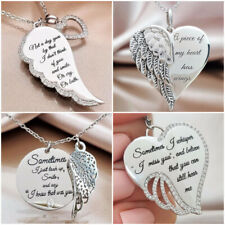 Angel Wings Memorial Love 925 Silver Necklace Pendant Women White Sapphire Gift