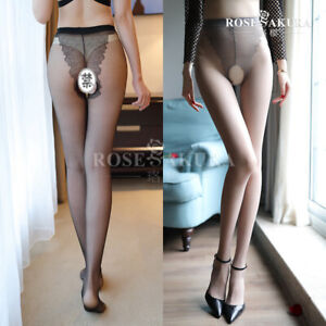 10D Crotchless Sheer Tights Stockings High Waist Nylon Pantyhose