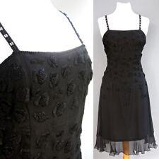Neiman Macus Anopia Collection 100% Negro Vestido de Seda Muy Bordado Talla 12
