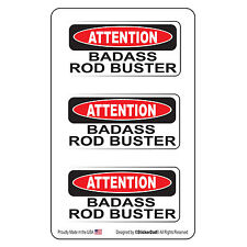 """Attention BA Rod Buster (3 Pack)-(size: 2"""" x 1"""") HardHat Printed Sticker"""