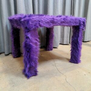 "QUEEN NAIJA: Purple Fuzzy 22"" End Table"