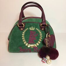 Green Juicy Couture Purse w/ Gold Tone Metal Large Charms & Mirror - Juicy Royal