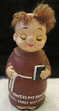 vintage Friar Tuck Monk Piggy Bank This is My Bank Thou Shalt Not Steal