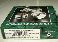 International Silver Plated Vintage Napkin Holders Wide Set Of 4 New Boxed
