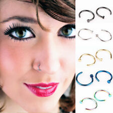5pcs Jewelry Stainless Steel Nose Open Hoop Ring Earring Body Piercing Studs
