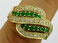R110- Genuine 9K 9ct Solid Gold NATURAL Emerald & Diamond Swirl Ring size N