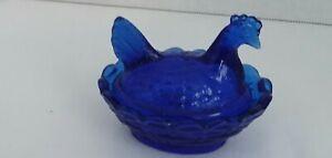 """GLASS CHICKEN ON NEST COVERED OPEN SALT DIP """"COBALT BLUE"""""""