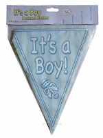 Baby Shower Pennant Bunting Banner Decorations It's a Pink Girl Blue Boy