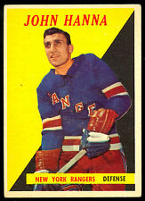 1958-59 TOPPS HOCKEY 7 JOHN HANNA RC ROOKIE EX COND N Y RANGERS FREE SHIP TO USA