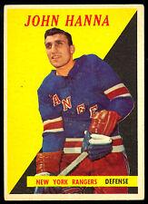 1958-59 TOPPS HOCKEY 7 JOHN HANNA RC ROOKIE EX COND N Y RANGERS
