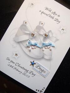 Handmade Personalised Christening/Baptism 'Shoes' Card. BLUE