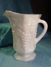 Vintage Milk Glass - Footed Milk Pitcher - Paneled Grape & Leaf