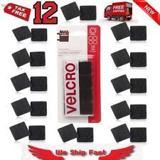 Sticky Back Squares Self Adhesive Hook Loop 12Sets Black VELCRO Brand Waterproof