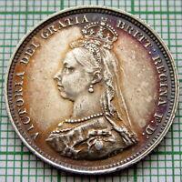 GREAT BRITAIN QUEEN VICTORIA 1887 JUBILEE SHILLING, SILVER HIGH GRADE TONED