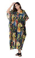 Indian Cotton Frida Kahlo Printed Long Kaftan Dress Navy Blue Caftan Sleepwear