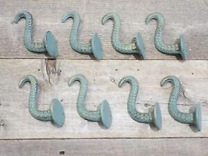 8 Cast Iron Octopus Tentacle Wall Hooks Bathroom Wall Towel Hook Nautical Coat