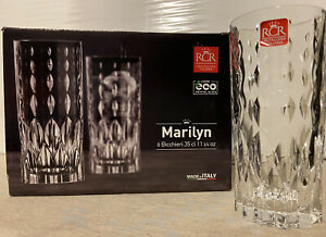 """Boxed Set of 6–RCR """"Marilyn"""" Luxion Crystal Glass Tumblers (11 3/4 OZ) New"""