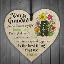 Nan and Grandad Time We Share Wooden Hanging Heart Grandparents Nan Gift Sign