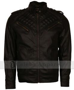 Mens Black Designer Fashion Diamond Quilted Biker Retro Leather Jacket