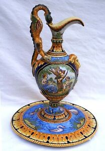 "Revival Large 15""++ Ewer Tray Cherubs French Faience Nevers Montagnon 1900"
