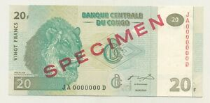 Congo Dem. Rep. 20 Francs 3-6-2003 Pick 94.s UNC Uncirculated Banknote Specimen