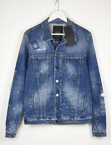 FRANKIE MORELLO TURKS Men 48 IT ~M/L Distressed Painted Denim Jacket 13765