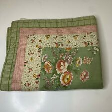 quilted pillow sham color green floral print 29�x24� french country cottage