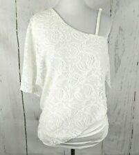 STUDIO Y One Shoulder Lace Crochet Top Small White Stretch Ruched Maurices