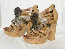 Two Lips Tan Feather Platform Sandals