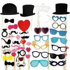 44Pcs Wedding Party Photo Booth Props on A Stick Masks Moustache Glasses Frame