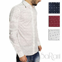 Camicia Uomo Casual Slim Cotone Fantasia Ancora Manica Lunga Vari Colori SARANI