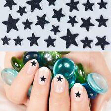 Nailart Sticker Glitter Sterne Nagelsticker Selbstklebend Glitzer Tattoo Schwarz