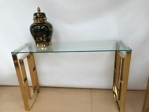 Gold Bude glass console table  120cm width