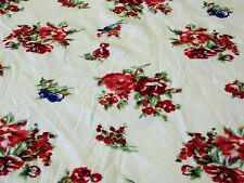 Stretch Jersey Print-kleine Rose Bouquet-elfenbein/rot/pink/royal/grün-Kleid Fab