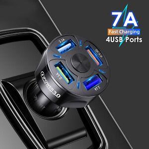 4 USB Ladegerät Auto KFZ LKW Schnell Power Adapter für iOS Android Handy Tablet