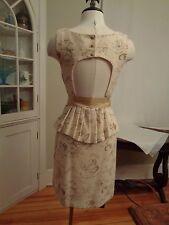 MOULINETTE SOEURS gold metallic stunning dress women's size 6 wool blend