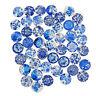 6-30 mm Mischgröße Glas Blau & Weiß Porzellan Flache Rückseite Cabochons Zubehör