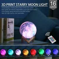 3D Print Galaxy Star Moon Lamp Colorful Changing Touch Desk Night Light Decor