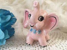 Estatuilla De Elefante encantadora, Rosa Bebé Elefante Figura De Porcelana Con Flor Azul