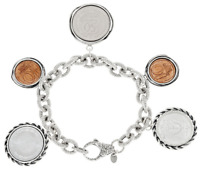 """Sterling Silver Israeli Coin Charm Bracelet by Or Paz, 7 1/4"""""""