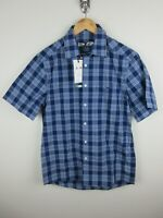 RM Williams Mens Hervey Shirt Size S Short Sleeve Button Up Blue Plaid New