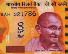 """INDIA RS. 200 RUPEES NEW """"786"""" ENDING HOLY NUMBER UNC.NOTE VERY RARE"""