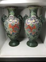 Vintage Large Pair Of Japanese Satsuma Ware Pottery Vases 37cm Tall