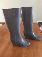Hunter Boots Wedge Heel Tall Rain Boots EUC SZ 5 Gray